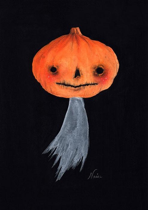 GhostlyPumpkin-WatercolorAndGouache5x7-ArchesPaper
