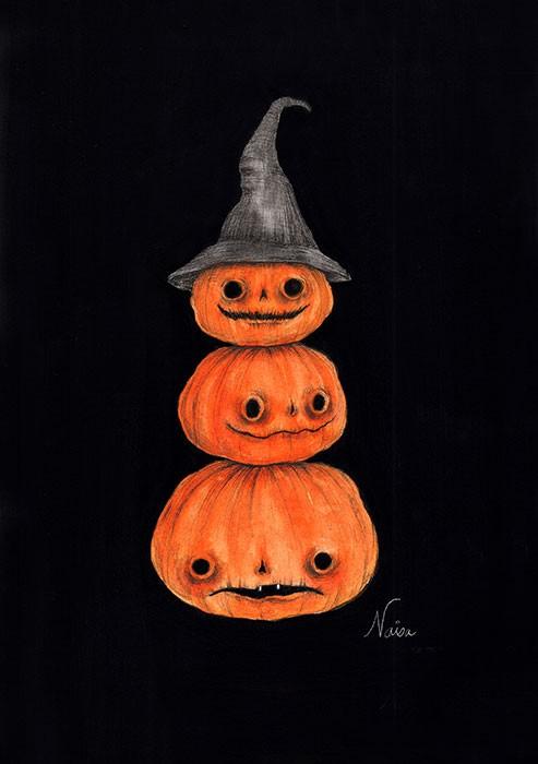 PumpkinTotem-WatercolorAndGouache-5×7-ArchesPaper